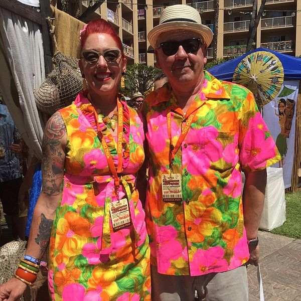 Sarah Franko and Bobby Franko, from San Francisco, pose for a photo at Tiki O...