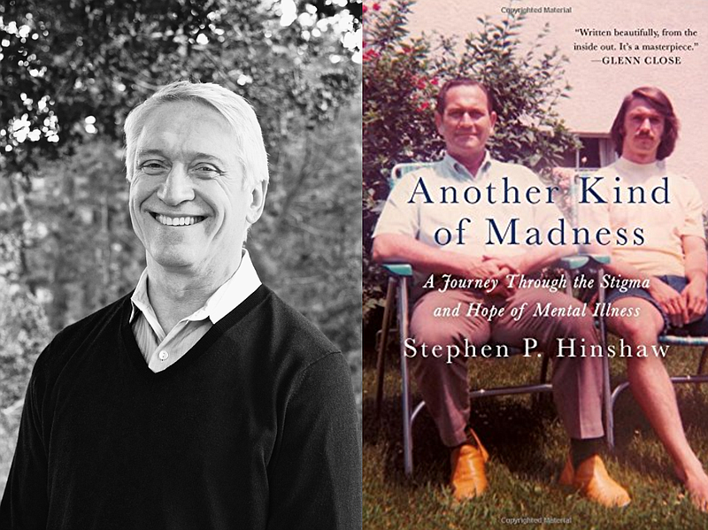 Author Stephen Hinshaw next to book jacket cover of his memoir