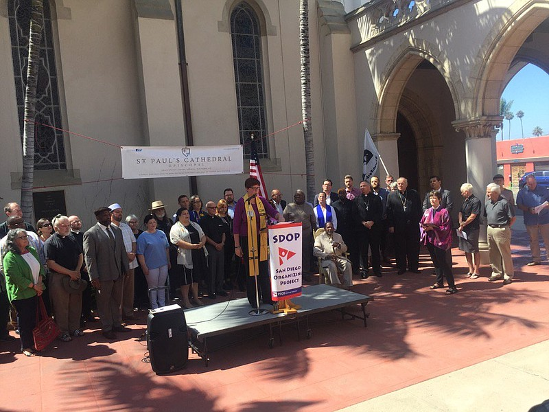 San Diego faith leaders gather for a press conference denouncing racism follo...