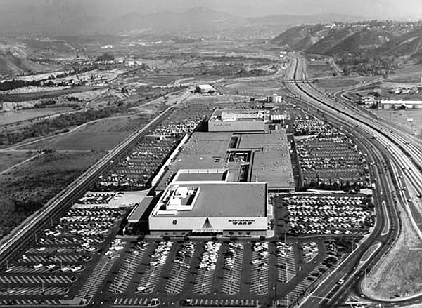 Historic photograph shows Mission Valley Mall and Interstate 8, 1964.