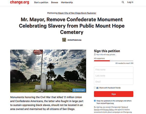 Screenshot of a Change.org petition calling for the removal of a Confederate ...