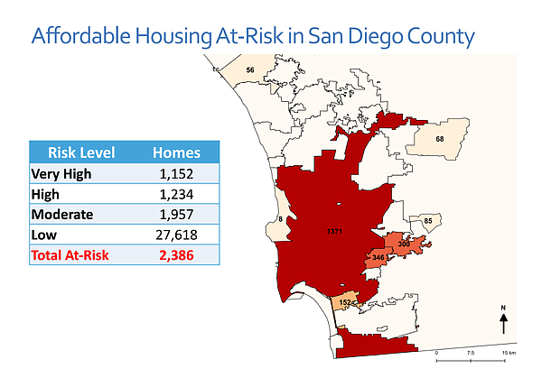 A map shows how many homes reserved for low-income renter...