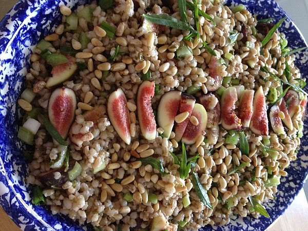 Barley salad topped with sliced figs in an undated photo.