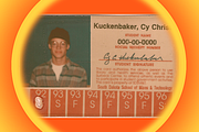 Cy Kuckenbaker's college ID. The photo was taken soon after his first visit t...