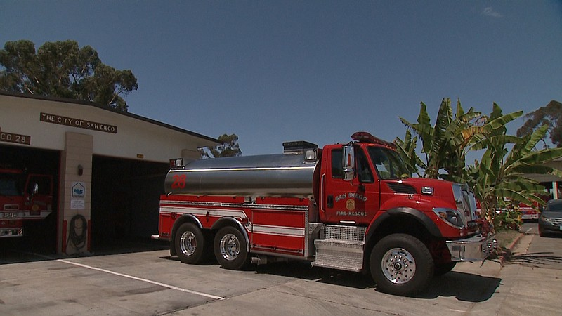 A brush truck is stationed at Fire Station 28 in San Diego, Aug. 28, 2017.