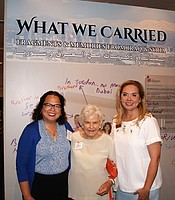 KPBS Director of Community Development & Engagement Monica Medina with New Americans Museum founder Deborah Szekely and New Americans Museum Executive Director Linda Sotelo at the New Americans Museum.