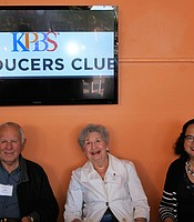 PC members John and Lois Harris with KPBS Director of Community Development & Engagement Monica Medina at the Digital Gym Cinema.