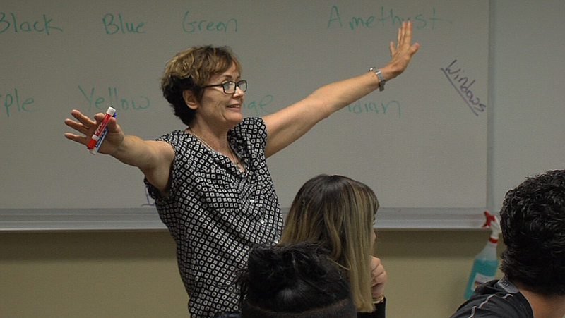 Cuyamaca College math teacher Terrie Nichols quizzes her students, Aug. 28, 2...