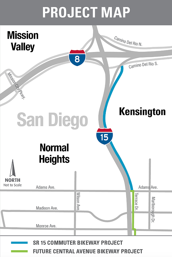 A map shows the route of the SR-15 Commuter Bikeway and t...