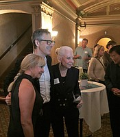 KPBS Producers Club member Becky Robbins and her guest Jeanne Jones with Ira Glass at the Balboa Theater.