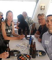 PC members John Martin, Suellen Lynn, Erica Daly, and Michael Daly aboard the Hornblower cruise ship.