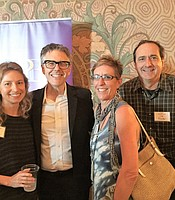 KPBS Producers Club members and major donors Mary Ann Beyster, Jim Beyster, and Mindu Pawinski with Ira Glass at the Balboa Theater.