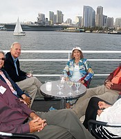 PC members enjoy the views of Downtown San Diego skyline aboard the Hornblower cruise ship.