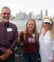 PC members Jerri and Dave Hunt with KPBS Leadership Giving Officer Sheilagh Carlisle aboard the Hornblower cruise ship.