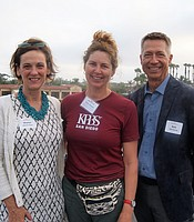PC members Sharon Payne and Rob Oswalt with KPBS Associate General Manager for Development and Grants Trina Hester aboard the Hornblower cruise ship.