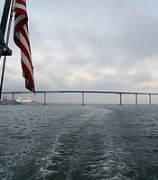 View of the Coronado Bridge from aboard the Hornblower cruise ship.
