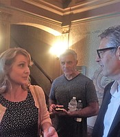 Balboa Theater Chief Financial Officer Shannon Gonzales and Ira Glass at the Balboa Theater.