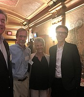 KPBS members Mike and Bette Pittenger with Ira Glass and David Littleton at the Balboa Theater.
