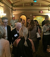 Ira Glass mingles with KPBS members at the Balboa Theater.