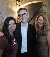 KPBS Associate General Manager for Development and Grants and KPBS Fulfillment Coordinator Cassandra Castillo with Ira Glass at the Balboa Theater.