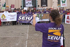 Protesters March For Workers' Rights In Downtown San Dieg...