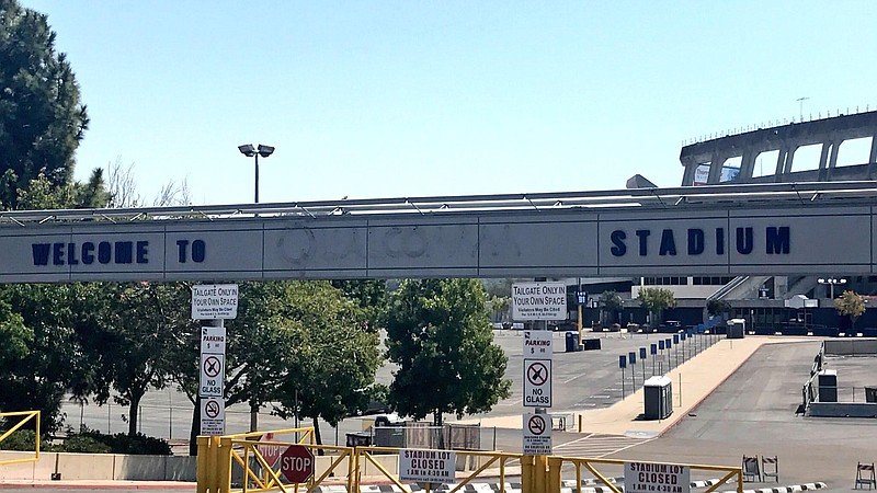 Entryway into San Diego Stadium, formerly known as Qualcomm Stadium, shown on...