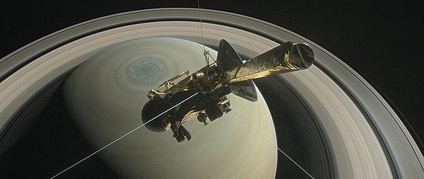 NASA's Cassini above Saturn's northern pole, ready to dive into Saturn's rings.