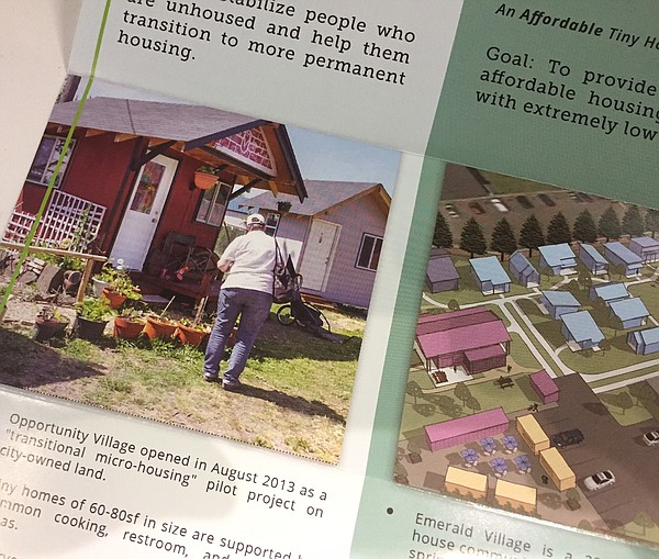 A brochure from Opportunity Village touts the benefits of living in a communi...