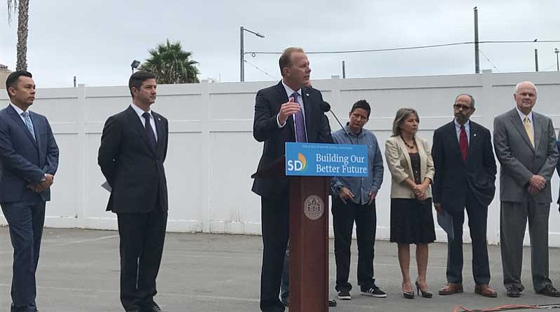 San Diego Mayor Kevin Faulconer announces a plan to open up industrial tents ...