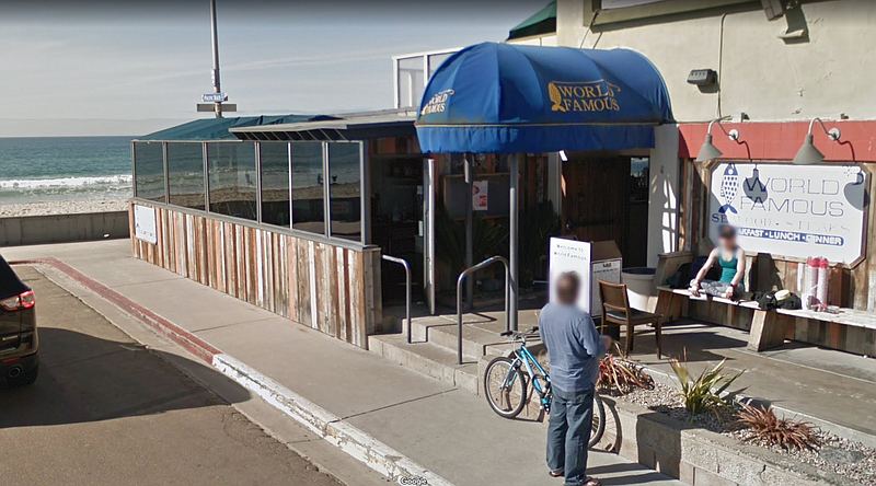 The entrance to Pacific Beach's World Famous is shown in this screenshot, Sep...