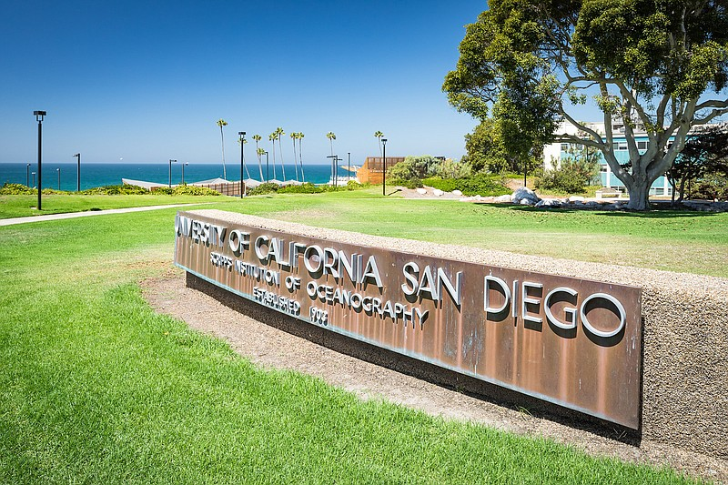The UC San Diego Scripps Institute of Oceanography sign is shown in this unda...