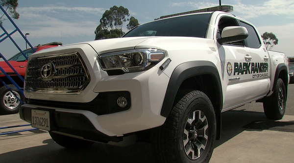 The new Toyota Tacoma truck purchased by the Carlsbad Police Department for p...