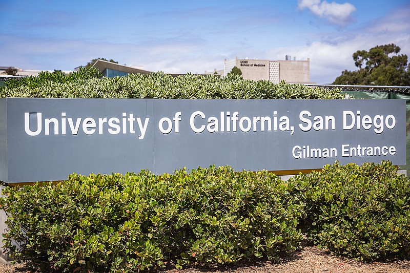 A sign for UC San Diego is shown in this undated photo.