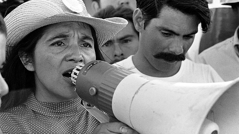 Labor leader Dolores Huerta organizing marchers on May 2, 1969, in Coachella ...