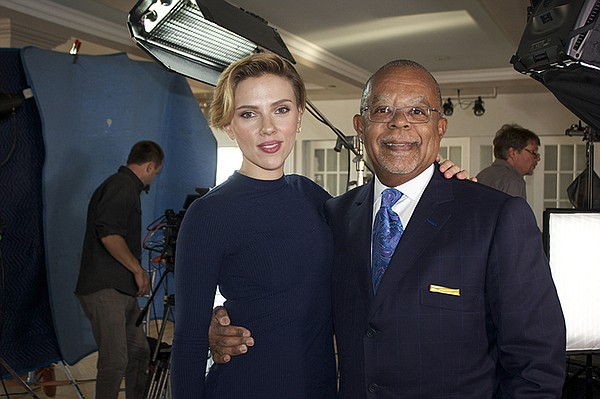 Henry Louis Gates, Jr. with Scarlett Johansson on the set...