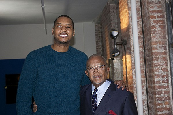 Henry Louis Gates, Jr. with Carmelo Anthony on the set of...