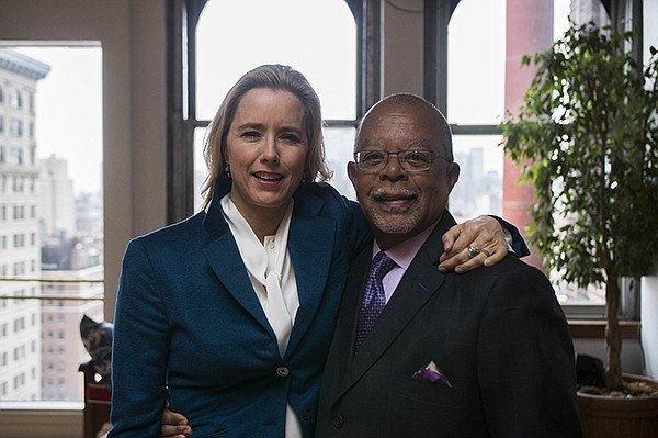 Henry Louis Gates, Jr. with Téa Leoni on the set of FINDI...