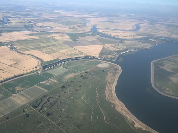 A view of the Sacramento delta from the air on Sept. 19, ...