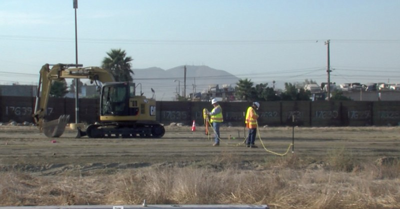 U.S. Customs and Border Protection prepares a construction site to build prot...
