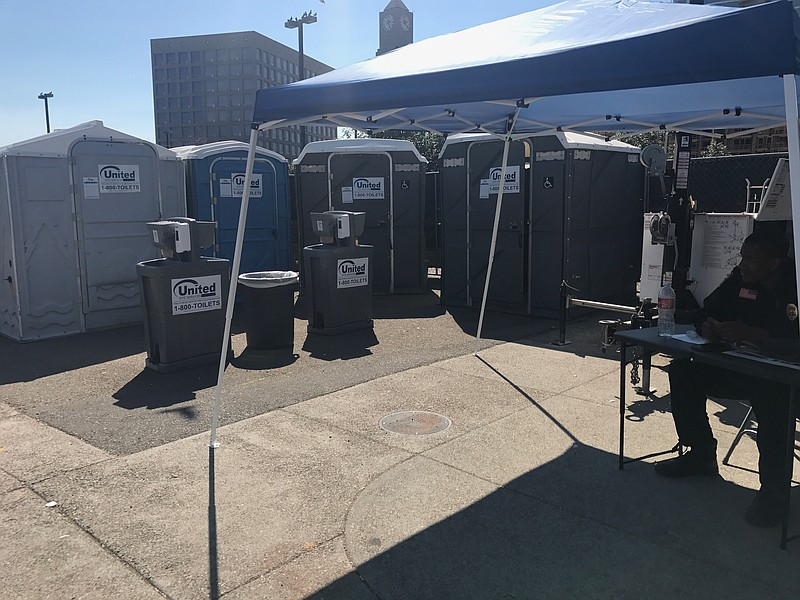 Public restrooms placed in downtown San Diego as part of an ongoing effort to...