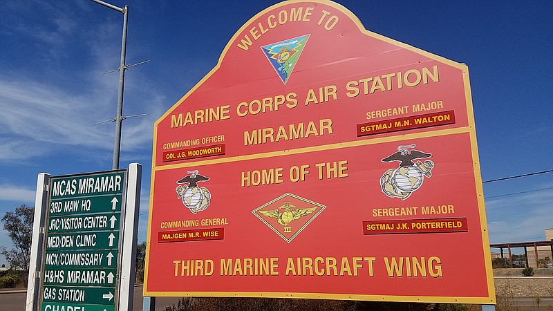 A sign at the Marine Corps Air Station Miramar is shown in this photo, Sept. ...