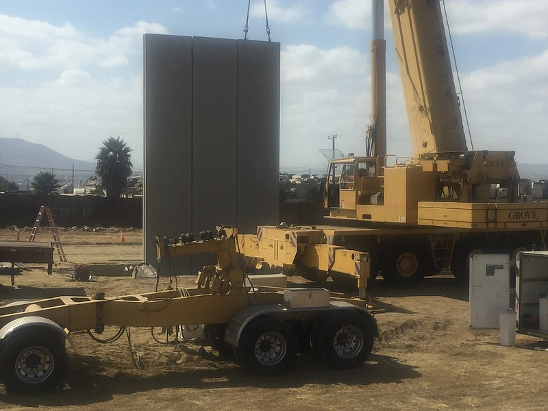 Border Wall prototype is going up near San Diego's Brown Field on Oct. 2, 2017.