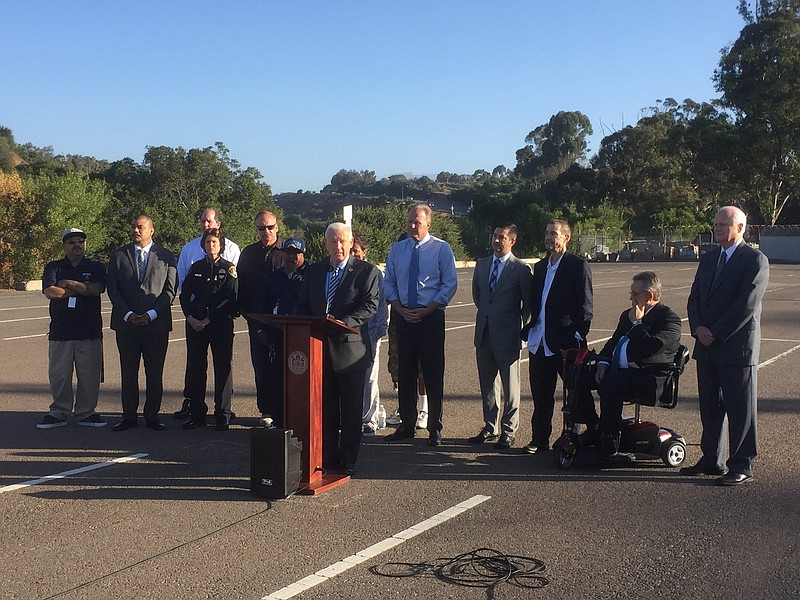 San Diego Mayor Faulconer, along with city and county leaders, announced the ...