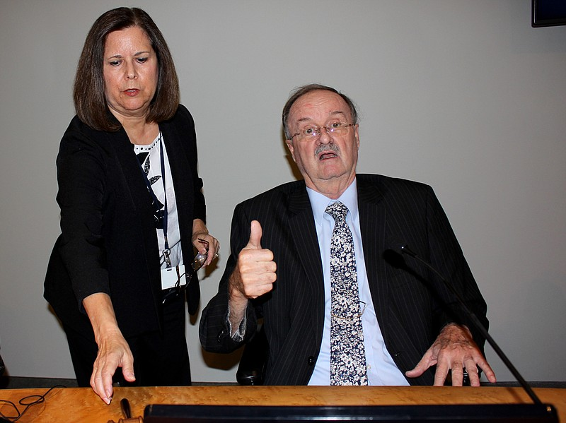 Oceanside Mayor Jim Wood gives a thumbs up before the city council meeting, w...