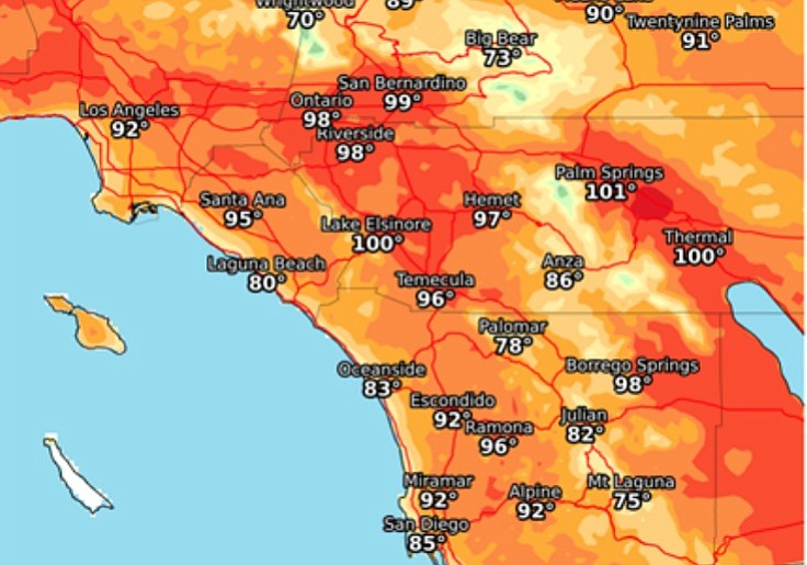 San Diego Weather Map Today.San Diego Fire Resources Boosted Ahead Of Santa Ana Winds Low