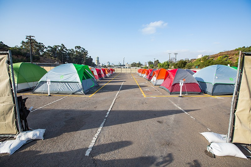 Tents are lined up at a homeless campground in Golden Hill, Oct. 9, 2017.