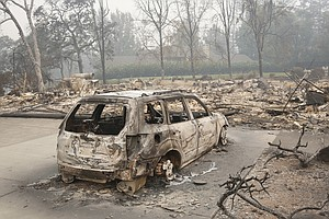 California Wildfires Leave Chimneys, Charred Appliances I...
