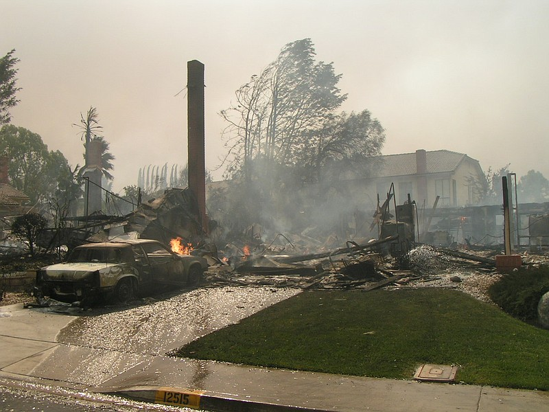 The remnants of a Rancho Bernardo home burned down in the 2007 wildfires, Oct...