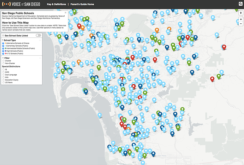 A screenshot of Voice of San Diego's school choice map is pictured.