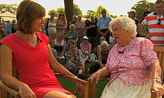 Fiona Bruce listens to the war memories of Glad...